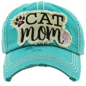 Cat Mom Baseball Hat Cap Distressed Embroidered